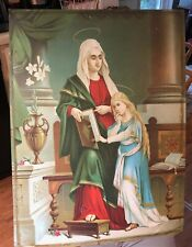ART TIN LITHO MOTHER MARY ST ANNE PATRON SAINT RELIGIOUS MINERS
