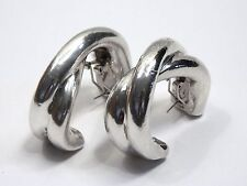 Giant Sterling Silver Modernist Electroform Twist Earrings Omega Back Israel Lg.