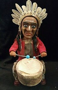 Alps Vintage Tin Toy Indian Drummer Battery Operated 1940's-50's