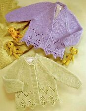 732) Knitting Pattern for Girls Cardigans with Decorative Edging 16-26'', 0-6yrs