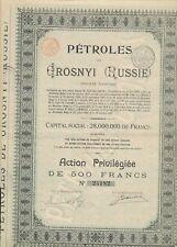 Russland-Öl Petroles de Grosnyi ( Russie ) Grosny - Aktie, 500 Franc 1921