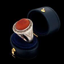 Antique Vintage Art Nouveau Sterling Silver English Carnelian Mens Ring Sz 10