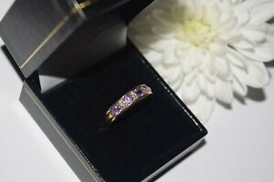14ct Yellow Gold Diamond & Amethyst Eternity Ring