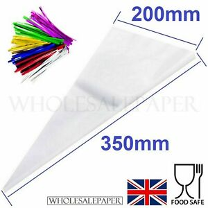 LARGE CLEAR CELLO CONE BAGS SWEETS CANDY KIDS PARTY FAVOUR CELLOPHANE WITH TIES