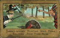 Thanksgiving - Pilgrim & Native Indian Axe & Gun L&E Series Postcard c1910