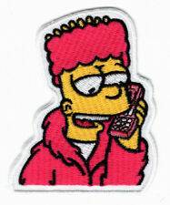 Bart Simpson Phone Embroidered 3.0 inch Iron on Sew on Patch
