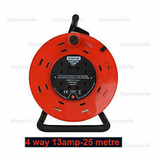 2 4 WAY GANG 5M-25M METER LONG EXTENSION LEAD ELECTRICAL MAIN SOCKET REEL UK NEW