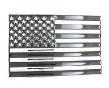 USA U.S. American Flag Patriotic Black/Silver Metal Belt Buckle