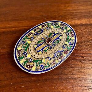 SPECTACULAR IMPERIAL RUSSIAN ENAMEL BELT BUCKLE W/ PINK GEMSTONE - SIGNED