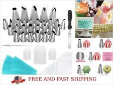 58 cake decorating tools Set Baking Kit Tips Pastry Bags Icing Spatula Nozzles