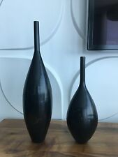 Pair Of Slim & Tall Heavy Brass Small Opening Decorative Vase with Patina Black