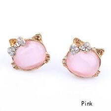 Pb para Mujer Chicas Gato Encantador Adorable Lindo Dulce Con Moño Oreja Aretes Rosa