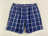 POLO RALPH LAUREN - Men's Size 38 - Chino Shorts, Pleated, Navy Blue Plaid