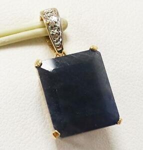 SYJEWELLERY FINE 9CT YELLOW GOLD NATURAL OCTAGON SAPPHIRE & DIAMOND PENDANT P841