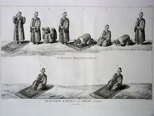 GRAVURE ORIGINALE Musulmans faisant Prière Tableau Général EMPIRE OTTOMAN 1787