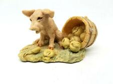 Lowell Davis Border Fine Arts Schmid Scotland 1981 Pig & Green Apples Figurine