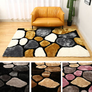 LARGE THICK SOFT 3D TEXTURED PILE PEBBLE STEPPING STONES SHAGGY FLOOR MAT RUG UK