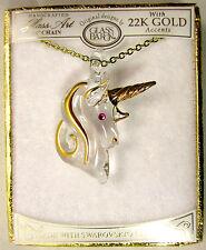 "Glass Baron JP 551 18""   Gold Unicorn Pendant with Crystal  22K Gold NWT"
