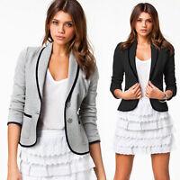 Fashion Women Casual Slim Suit Blazer Lady Jacket Coat Outwear Two Button Tops