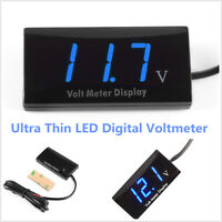 Car 12V Ultra Thin Slim Digital Blue LED Display Voltage Meter Voltmeter Panel