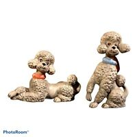 Pair of Extra Large Atlantic Mold Ceramic Gray Poodles with Rhinestone Collars.