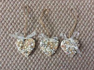 handmade hearts ,pearls and crystals , set of 3