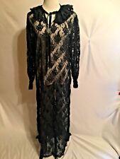 Vintage Peignoir Robe Sheer Black ALL Lace long sleeve Liz Potter for Jennie