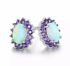 0.25 CTTW White Fire Opal & Amethyst Stud Earrings 18K - White Gold Plated