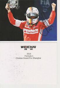 #5 2015 Sebastian Vettel Hand Signed Autographed F-1 Ferrari F1 Card Postcard