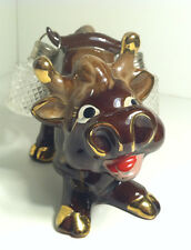 VINTAGE BROWN & GOLD BULL FIGURINE WITH GLASS LANTERN SALT AND PEPPER SHAKERS