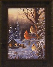 CABIN FEVER by Terry Doughty Cardinals Birds Log Cabin Woods 16x20 FRAMED PRINT