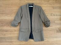 New ZARA Womens sz S khaiki Olive color open front long blazer jacket
