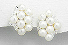 "0.75"" Solid Sterling Silver 19mm Clustered Pearl Leverback Dangle Earrings 6.5g"