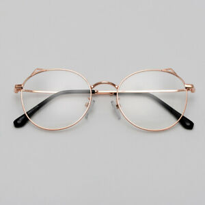 Lightweight Round Glasses for Women Cute Titanium Frame with Ears Rose Gold Pink
