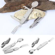 4 in 1 Portable Stainless Steel Tableware Knife Fork Spoon Camping Utensils US