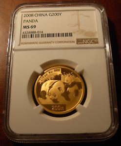 China 2008 Gold 1/2 oz Panda 200 Yuan NGC MS69
