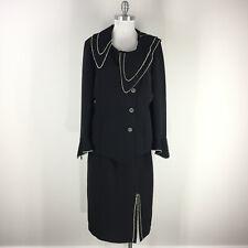 Serafina Black Skirt Suit 16 Rhinestone Embellished Formal Party