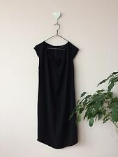 Cos Minimalistic Black Viscose Dress With Leather Detail Size 38 Lbd Vgc