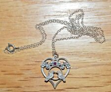"""Vintage Valentine Pewter """"Love Birds"""" Necklace with Amethyst  & 18"""" Silver Chain"""
