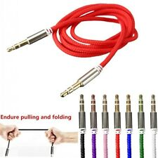 Braided 3.5mm Stereo Gold Male To Male Aux Cable Audio Auxiliary Lead PC Car New