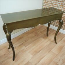 Stylish OLD GOLD Metallic Console Hall Table Contemporary Glossy Unique Antiqued
