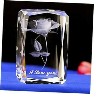 3D Laser Crystal Flower with Gift Box, Engrave I Love You, Anniversary Rose