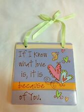 """Inspirational Wall Sign Purple 4"""" WHAT LOVE IS Ceramic Encore"""