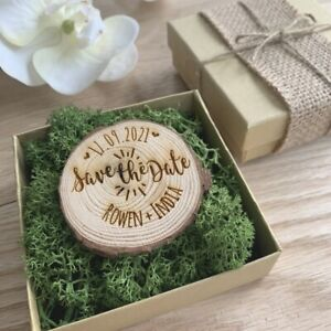 Rustic boxed save the date log slice, rustic wedding invitation, natural wood