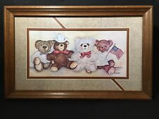 Home Interior Homco Framed Matted Teddy Bear Print Picture By Ava Freeman