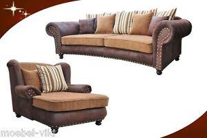 "Big Sofa  ""Hawana"" 274cm inkl. Big Sessel und Hocker im Kolonialstil Neu"