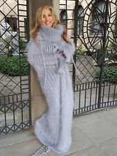 Hand Knitted Long hair  Fuzzy Mohair  Gray Tube Hooded Fetish by Touch of Mohair