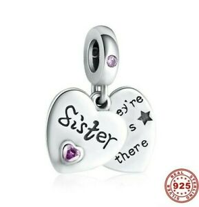 💖 SISTER LOVE HEART Dangle Genuine 925 Sterling Silver Charm Bead Bracelet Pink