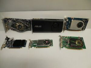 Lot of 6 graphics cards GPU  MIXED LOT GEFORCE RADEON SAPPHIRE