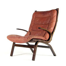 Retro Vintage Danish Modern Farstrup Leather Lounge Easy Chair Armchair 60s 70s